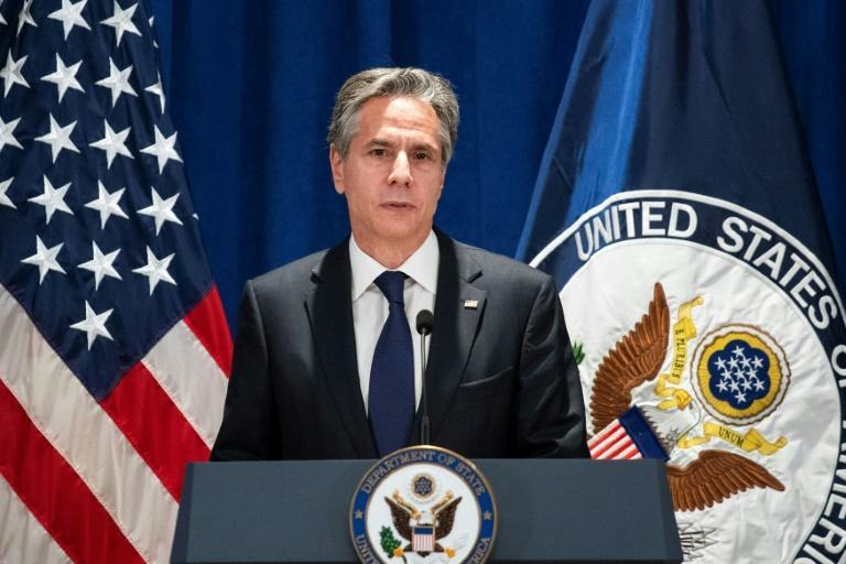 US Secretary of State Antony Blinken speaks to the media after meetings at the UN General Assembly (AFP/EDUARDO MUNOZ)