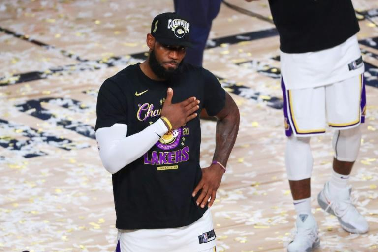 Los Angeles Lakers LeBron James reacts after winning the NBA Championship over the Miami Heat last month