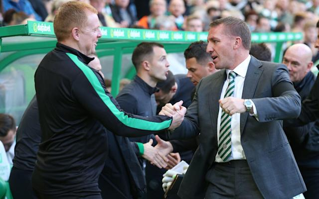 """The serendipity of the fixture list sees two managers linked by speculation encounter each other at Easter Road on Saturday. A win for Brendan Rodgers and Celtic against Hibs would secure a seventh successive title for the Hoops and take them to within one victory of an unprecedented second successive clean sweep of the Scottish honours. That accomplishment could be Rodgers' parting gift to the Parkhead faithful, if his status as a favourite to succeed Arsene Wenger should culminate in a move to Arsenal. Celtic's single largest shareholder, Dermot Desmond, made a telling intervention in that regard, when he told Sky Sports: """"We wouldn't want him to leave but we won't force him to stay. """"Hopefully his love for the club and the set-up here will induce him to stay. I don't think you can put handcuffs on anybody if they want to go to a club as good as Arsenal. It will be Brendan's decision and his decision only."""" Should Rodgers depart, Neil Lennon – his opposite number today - will be cited as a prime candidate to return to the east end of Glasgow, from whence he departed in 2014 after four years in charge, during which spell Celtic won three consecutive titles to commence the sequence which is on the verge of being supplemented with another. Lennon's decision to leave was fuelled by frustration at the absence of a challenge in the league, with Rangers mired in the lower divisions after the financial implosion at Ibrox in 2012. He added a spell with Bolton Wanderers to his CV before leaving in March 2016 and joining Hibs that summer. Lennon would be a candidate to return to Parkhead if Rodgers were to leave Scotland Credit: ACTION PLUS In Lennon's first season in Edinburgh Hibs returned to the Scottish Premiership after a three-year absence and their performances have exceeded expectations, to the extent that they are only three points behind Rangers and Aberdeen in the tussle for second place. The conspiracy theorists have had fun with this weekend's card, with one nar"""