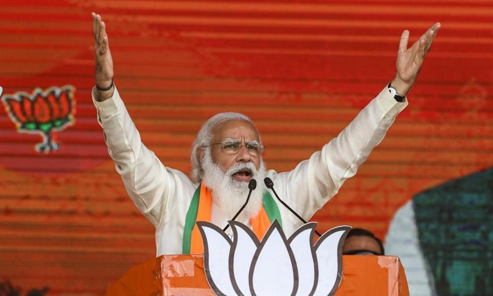 Narendra Modi addresses a rally in Kolkata in March ahead of the West Bengal state election