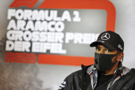 Mercedes driver Lewis Hamilton of Britain during a press conference prior the Eifel Formula One Grand Prix at the Nuerburgring racetrack in Nuerburg, Germany, Thursday, Oct. 8, 2020. (xpbimages.com/Pool via AP)