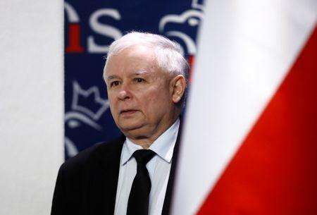 Kaczynski, leader of ruling party Law and Justice  attends a news conference about Brexit in party headquarters in Warsaw