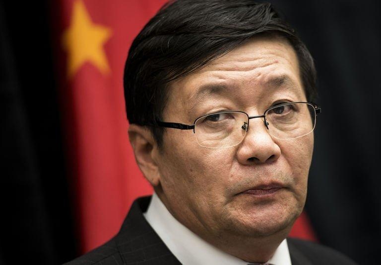 Chinese Minister of Finance Lou Jiwei gives a briefing at the US Department of the Treasury July 11, 2013 in Washington