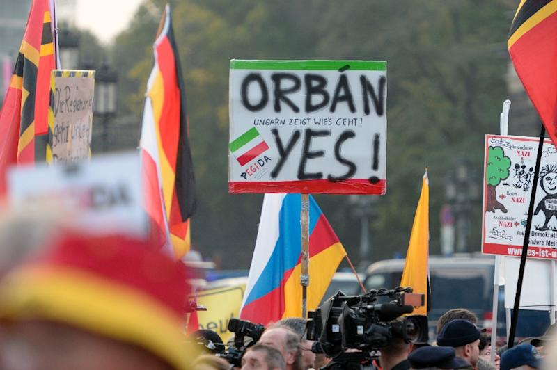 Supporters of the PEGIDA movement rally on October 19, 2015 in Dresden, eastern Germany (AFP Photo/Robert Michael)