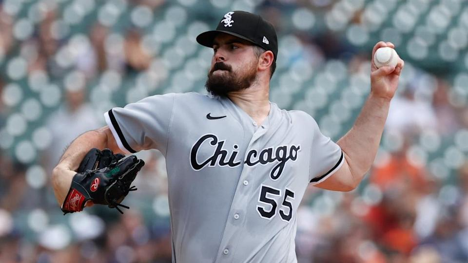 Jun 13, 2021; Detroit, Michigan, USA; Chicago White Sox starting pitcher Carlos Rodon (55) pitches in the third inning against the Detroit Tigers at Comerica Park.