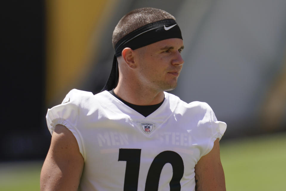 FILE - In this Aug. 19, 2020, file photo, then Pittsburgh Steelers wide receiver Ryan Switzer attends practice at NFL football training camp in Pittsburgh. Cleveland Browns wide receiver Switzer said his 9-month-old son is stable after undergoing surgery to stop bleeding. (AP Photo/Keith Srakocic, File)