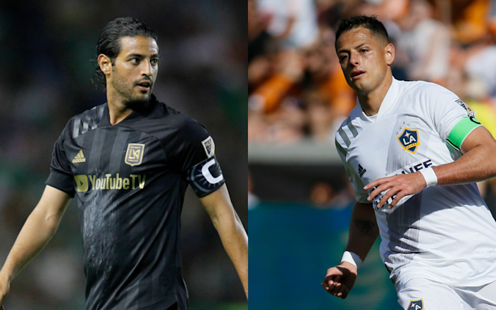 """LAFC star Carlos Vela, left, and Galaxy standout Javier """"Chicharito"""" Hernandez will be playing in the same group when the MLS Is Back tournament kicks off next month. <span class=""""copyright"""">(Leopoldo Smith / Getty Images; Bob Levey / Getty Images)</span>"""