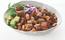 """<p>Fiber-friendly cannellini beans cook alongside <a href=""""https://www.thedailymeal.com/healthy-eating/foods-neurologists-eat-brain-health?referrer=yahoo&category=beauty_food&include_utm=1&utm_medium=referral&utm_source=yahoo&utm_campaign=feed"""" rel=""""nofollow noopener"""" target=""""_blank"""" data-ylk=""""slk:brain-boosting"""" class=""""link rapid-noclick-resp"""">brain-boosting</a> avocado, lime and cilantro in this pork-based chili. </p> <p><a href=""""http://www.thedailymeal.com/best-recipes/pork-and-white-bean-chili?referrer=yahoo&category=beauty_food&include_utm=1&utm_medium=referral&utm_source=yahoo&utm_campaign=feed"""" rel=""""nofollow noopener"""" target=""""_blank"""" data-ylk=""""slk:For the Pork and White Bean Chili recipe, click here."""" class=""""link rapid-noclick-resp""""><strong>For the Pork and White Bean Chili recipe, click here.</strong></a></p>"""