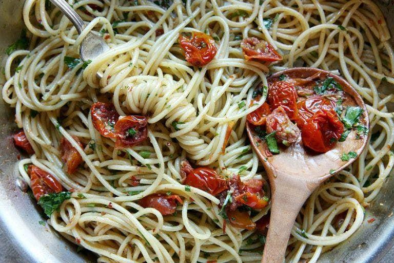 """<p>This flavour-packed sauce puts ready-made to shame.</p><p>Get the <a href=""""https://www.delish.com/uk/cooking/recipes/a35582578/roasted-tomato-spaghetti-recipe/"""" rel=""""nofollow noopener"""" target=""""_blank"""" data-ylk=""""slk:Roasted Tomato Spaghetti"""" class=""""link rapid-noclick-resp"""">Roasted Tomato Spaghetti</a> recipe.</p>"""