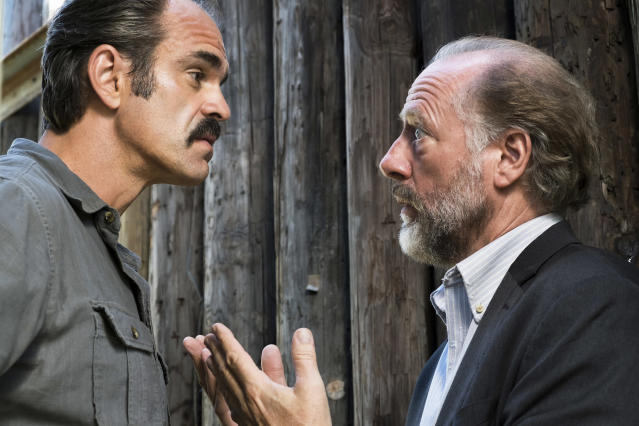 Steven Ogg as Simon and Xander Berkeley as Gregory in  <i>The Walking Dead</i> (Photo: Gene Page/AMC)