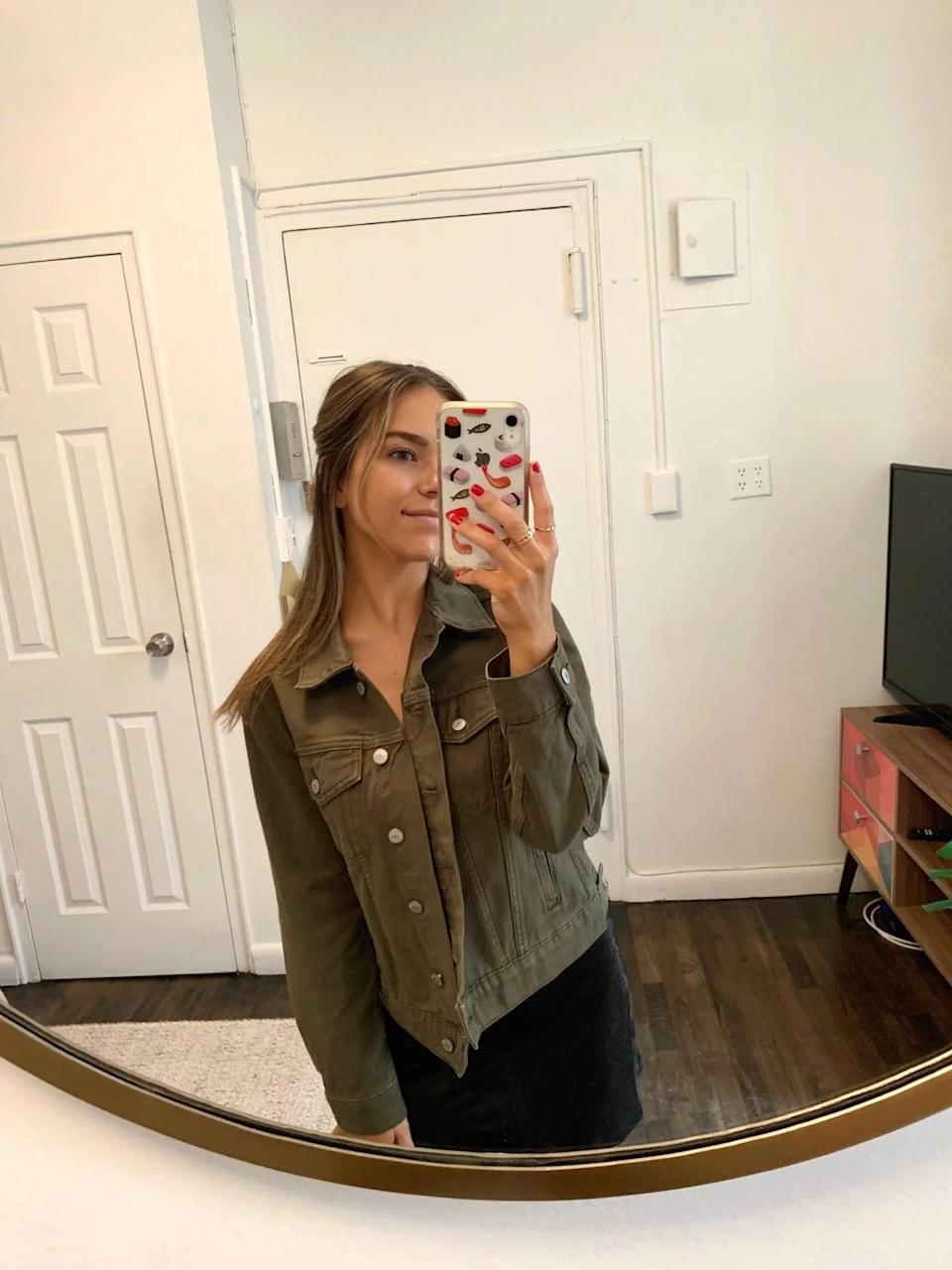 """<p><strong>The item:</strong> <span>Old Navy Olive Green Non-Stretch Jean Jacket</span> ($40) </p> <p><strong>What our editor said:</strong> """"Aside from being extremely comfortable, this jacket is also very versatile and can dress an outfit up or down depending on the look you're going for...Since it's 100 percent cotton, it's lightweight and soft to touch, but it's also thick enough to keep you warm if you want to pair it with a dress on a fall evening. Whether you're looking for a seasonal staple or you, too, want to give jean jackets another chance, this affordable option is it."""" - LH</p> <p>If you want to read more, here is the<a href=""""https://www.popsugar.com/fashion/old-navy-olive-green-jean-jacket-review-48476711"""" class=""""link rapid-noclick-resp"""" rel=""""nofollow noopener"""" target=""""_blank"""" data-ylk=""""slk:complete review""""> complete review</a>.</p>"""