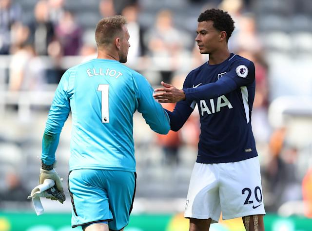 Tottenham's Dele Alli shakes hands with Newcastle United's Rob Elliot at the end of the match