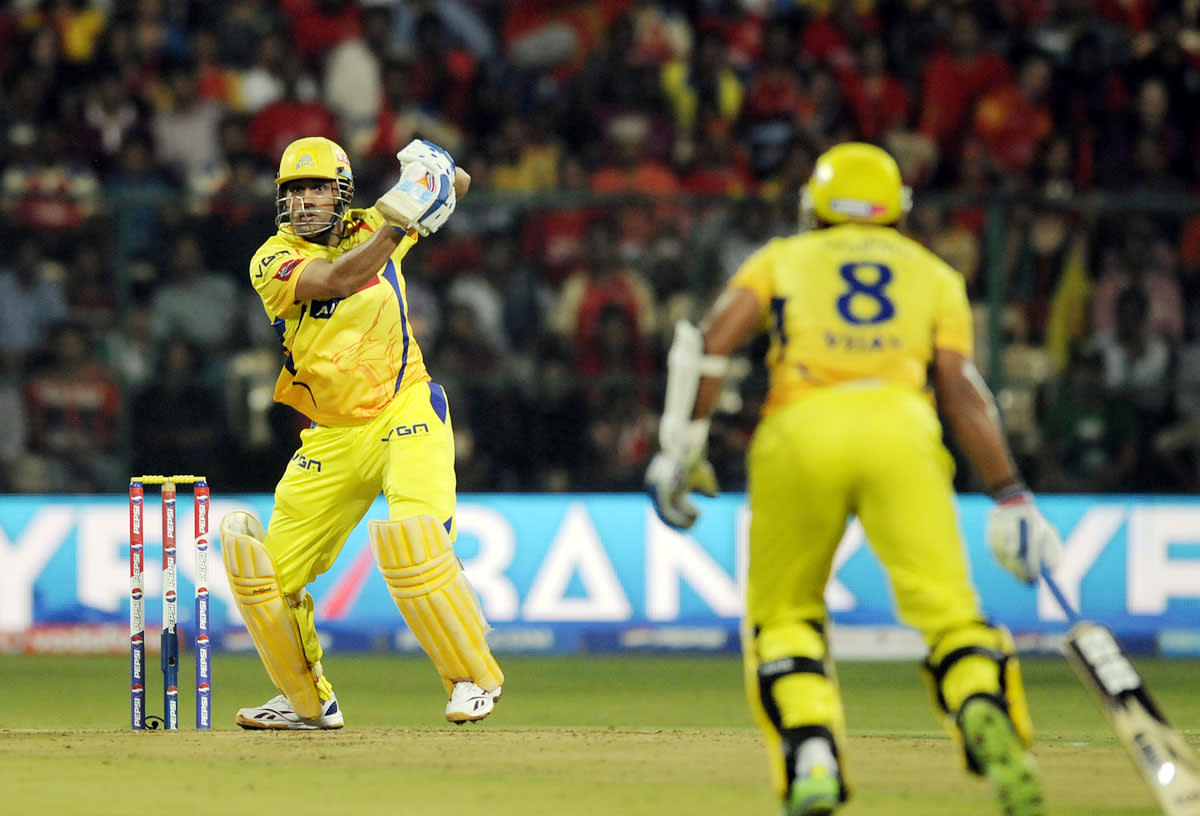 Mahendra singh Dhoni captian of Chennai Super Kings  bats during match 70 of the Pepsi Indian Premier League between The Royal Challengers Bangalore and The Chennai Superkings held at the M. Chinnaswamy Stadium, Bengaluru  on the 18th May 2013. (BCCI)