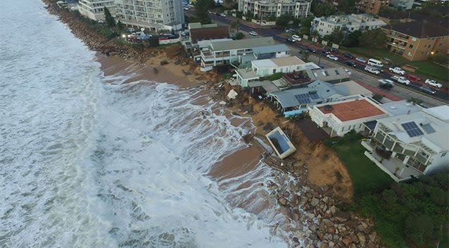 Drone footage of the affected properties in Collaroy. Photo: UNSW Water Research Laboratory