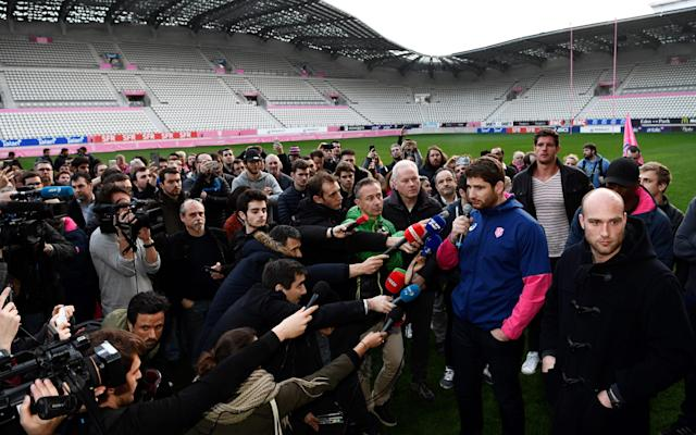 <span>Stade Francais players protested over the merger</span> <span>Credit: AFP </span>