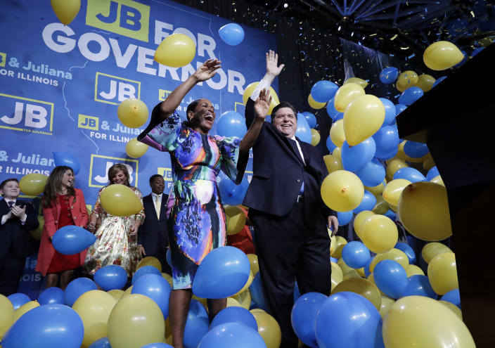 Democratic venture capitalist J.B. Pritzker, right, and state Rep. Juliana Stratton celebrated in Chicago on Nov. 6, 2018, after they won the races for governor and lieutenant governor, respectively, in Illinois. (Photo: Nam Y. Huh/AP)
