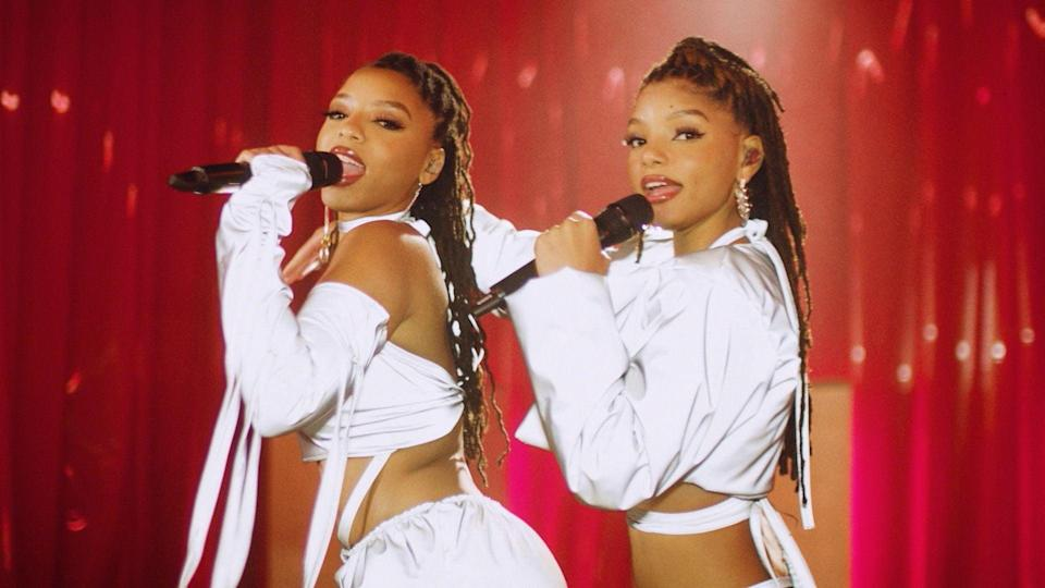 VARIOUS CITIES - JUNE 28: In this screengrab, Chloe x Halle perform during the 2020 BET Awards. The 20th annual BET Awards, which aired June 28, 2020, was held virtually due to restrictions to slow the spread of COVID-19. (Photo by BET Awards 2020/Getty Images via Getty Images)