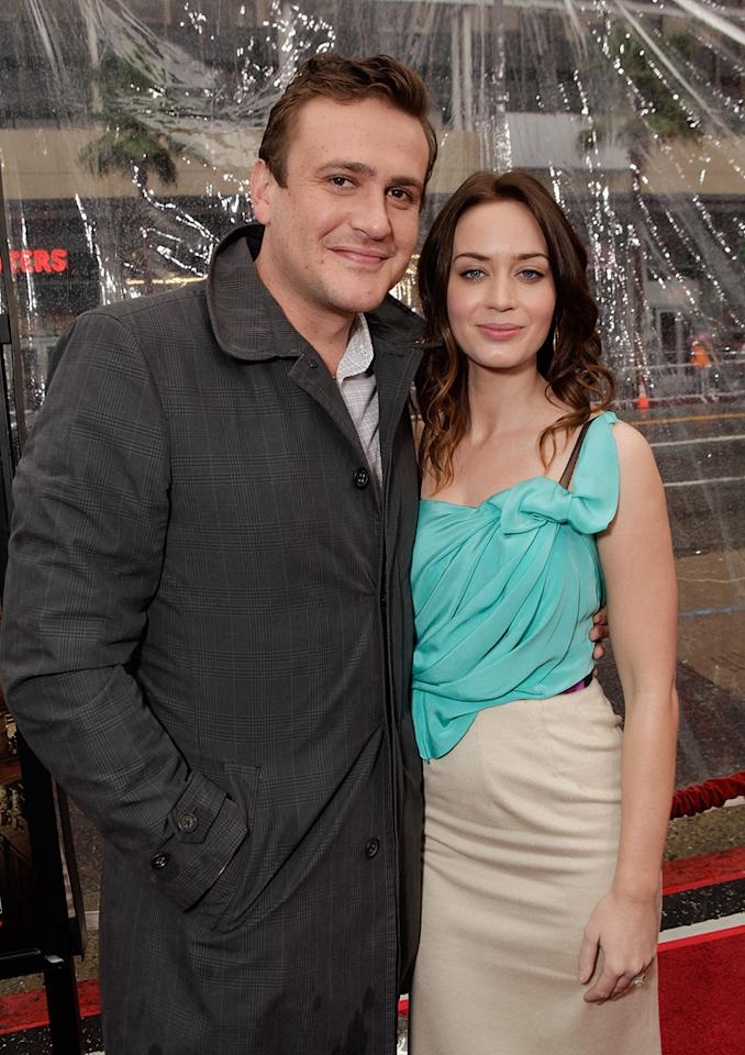 """<a href=""""http://movies.yahoo.com/movie/contributor/1800019331"""">Jason Segel</a> and <a href=""""http://movies.yahoo.com/movie/contributor/1808577445"""">Emily Blunt</a> at the Los Angeles premiere of <a href=""""http://movies.yahoo.com/movie/1810107830/info"""">Gulliver's Travel</a> on December 18, 2010."""