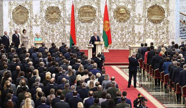 PHOTO: Belarusian President Alexander Lukashenko takes his oath of office during his inauguration ceremony at the Palace of the Independence in Minsk, (Sergei Sheleg/Pool Photo via AP) (Sergei Sheleg/AP)