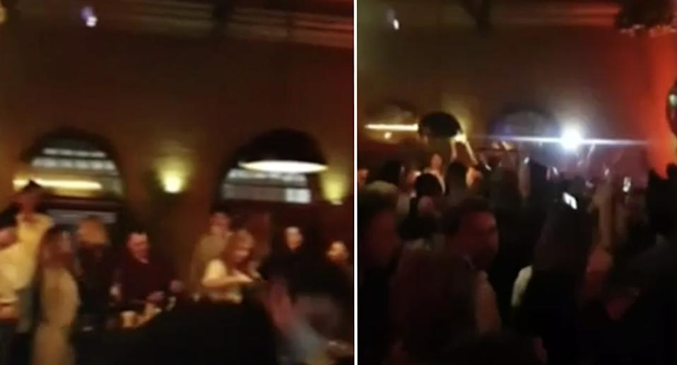 Dozens of mask-less people dancing and drinking at the Chapel Street bar at 11:50pm on Thursday.