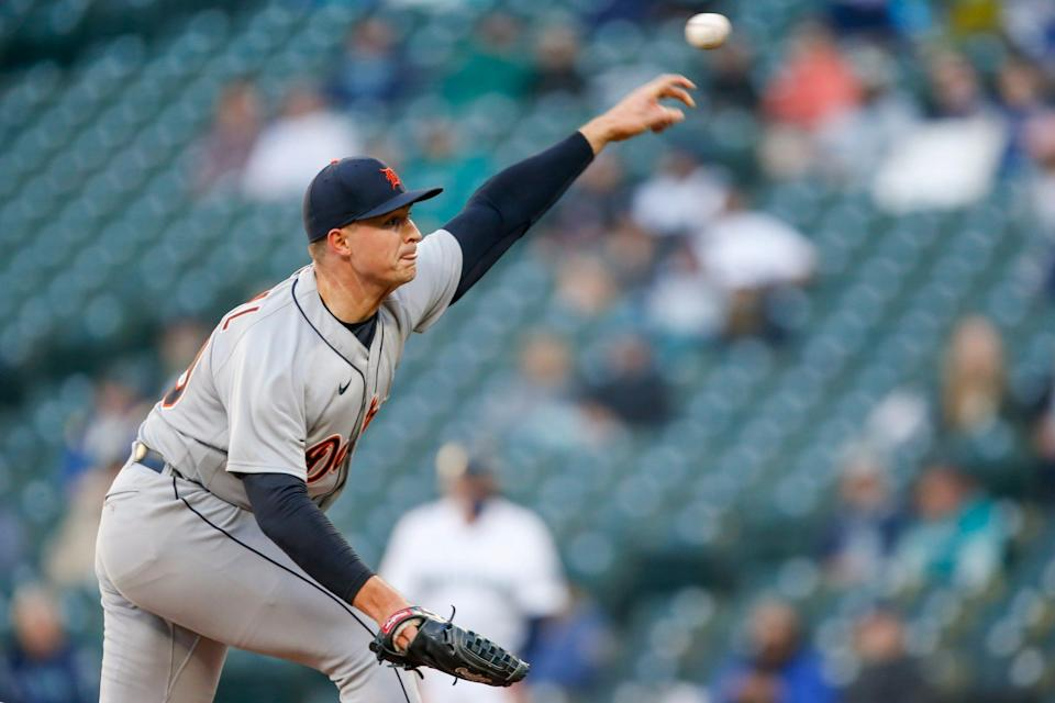 Detroit Tigers starting pitcher Tarik Skubal throws against the Seattle Mariners during the first inning at T-Mobile Park, May 19, 2021.