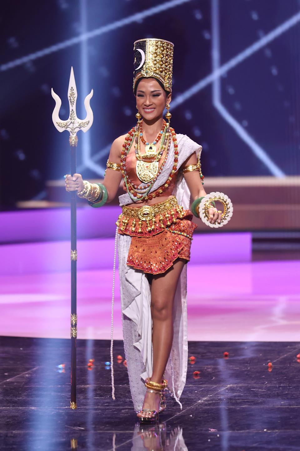 <p>Miss Cambodia Sarita Reth appears onstage at the Miss Universe 2021 - National Costume Show at Seminole Hard Rock Hotel & Casino on May 13, 2021 in Hollywood, Florida. (Photo by Rodrigo Varela/Getty Images)</p>