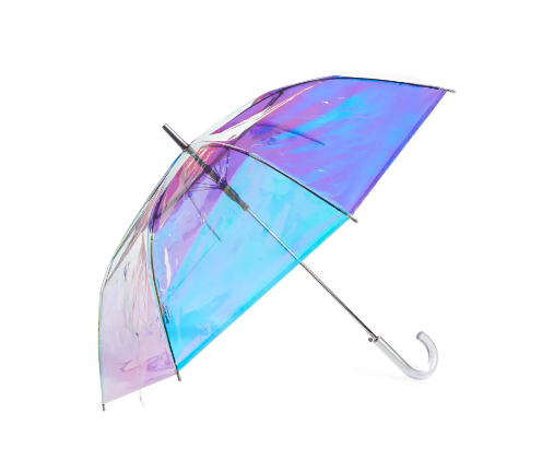 Iridescent Auto Open Stick Umbrella. Image via Nordstrom.