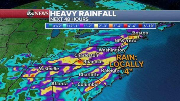 PHOTO: Heavy rainfall in the Mid-Atlantic could cause flash flooding in some spots. (ABC News)