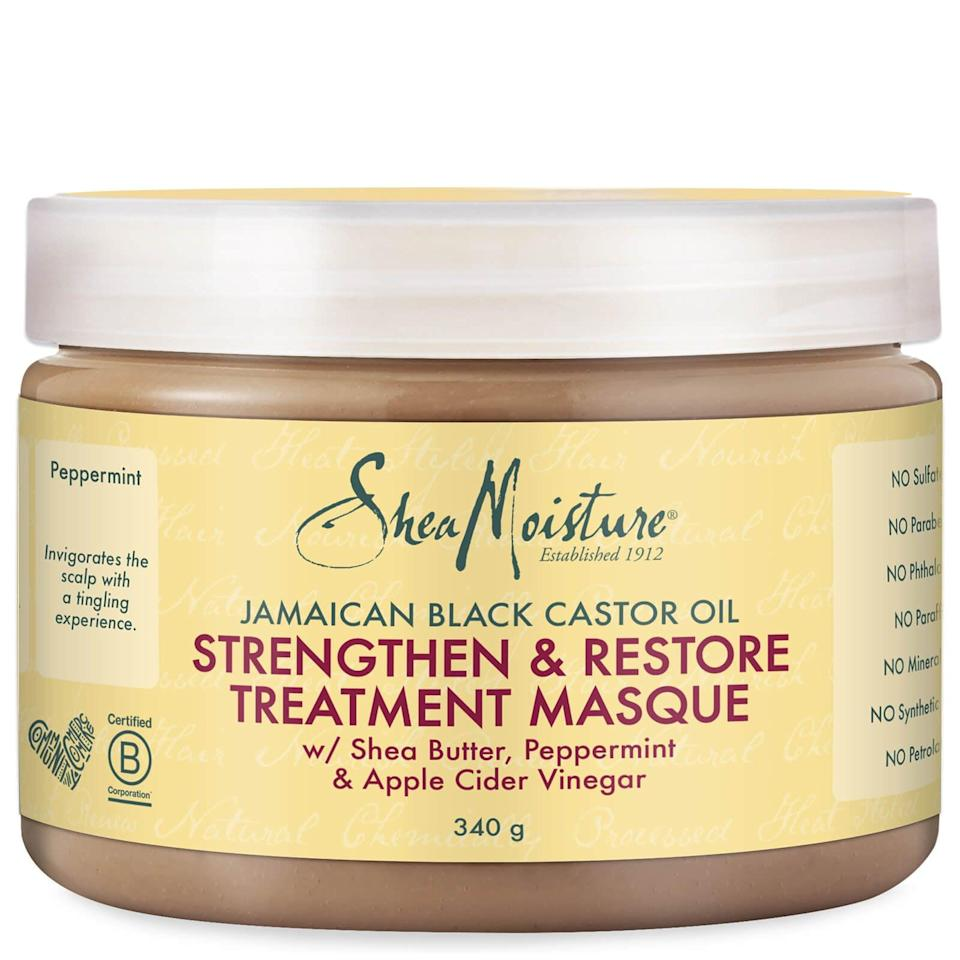 """<p><span>Shea Moisture Jamaican Black Castor Oil Strengthen &amp; Restore Treatment Masque</span> ($10) is worth every bit of its five-star review that you'll find on most websites. The reason it's a bestseller is because of the incredible cocktail of ingredients. """"Anything with Jamaican black castor oil works incredibly with type 4 Afro hair, in addition to shea butter, which is lauded for its thick, superhydrating consistency,"""" said Kia. """"It also contains peppermint, which not only feels invigorating on your scalp, but also has antibacterial and antimicrobial properties that relieve dry scalp."""" Apple cider vinegar is also great for calming irritation and relieving dandruff. """"This mask works wonders on bleached Afro hair, and make sure to try it as an overnight treatment, because it will get you hooked,"""" she added.</p>"""