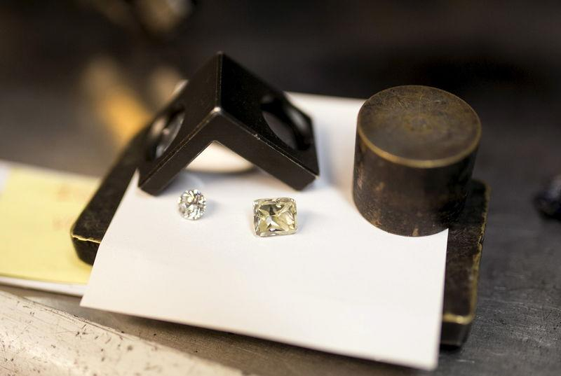 Diamonds are seen at a polishing factory near Tel Aviv