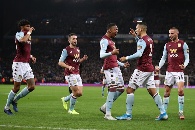 BIRMINGHAM, ENGLAND - NOVEMBER 25: Anwar El Ghazi of Aston Villa celebrates scoring their 2nd goal among team mates during the Premier League match between Aston Villa and Newcastle United at Villa Park on November 25, 2019 in Birmingham, United Kingdom. (Photo by Marc Atkins/Getty Images)