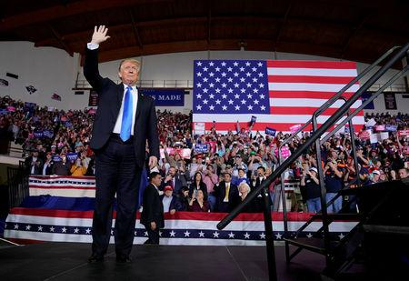 U.S. President Donald Trump arrives to speak at a Make America Great Again rally in Richmond, Kentucky, U.S., October 13, 2018.      REUTERS/Joshua Roberts