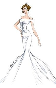 "<div class=""caption-credit""> Photo by: Illustration: Courtesy of Reem Acra</div><div class=""caption-title""></div><b>Reem Acra</b> <br> <br> ""When I envision Angelina in a wedding dress,"" says designer-to-the-stars Reem Acra , ""I am inspired by her classic elegance and effortless sex appeal. She is deliberate about her fashion choices and that sophisticated confidence makes for the perfect modern bride."" It'll certainly take an Angelina-esque bravado to wear Acra's ivory, double-faced silk crepe gown, which features a prominent center-cinched bodice, an off-the-shoulder neckline, and a flared skirt-the kind of figure-hugging silhouette that evokes the star's steamier roles. One can even imagine Mrs. Smith slipping into such a gown, provided there's room for a concealed weapon."
