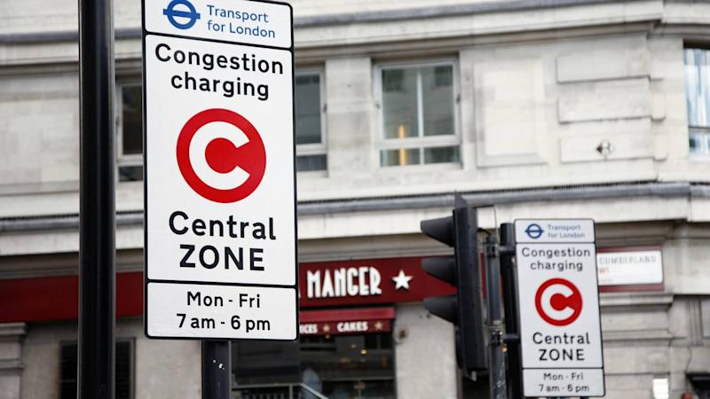 Congestion charge zone sign in London