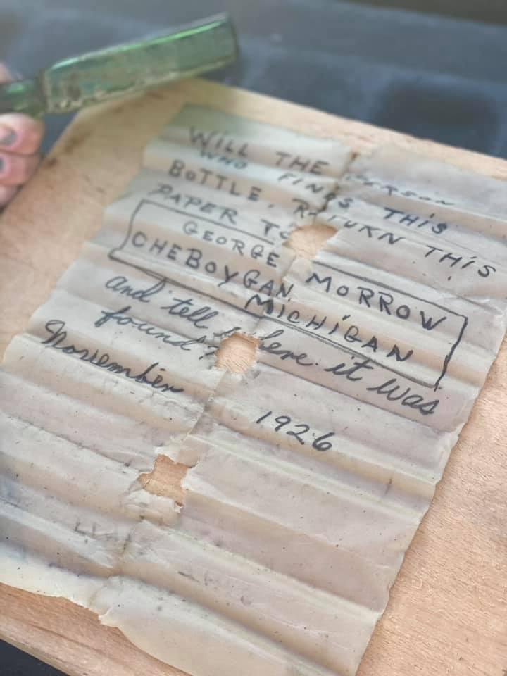 Incredibly well-preserved: The note that was written almost a century ago. (Supplied Jennifer Dowker)