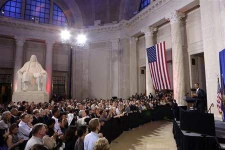 U.S. President Obama speaks at a campaign fund raising event in Philadelphia