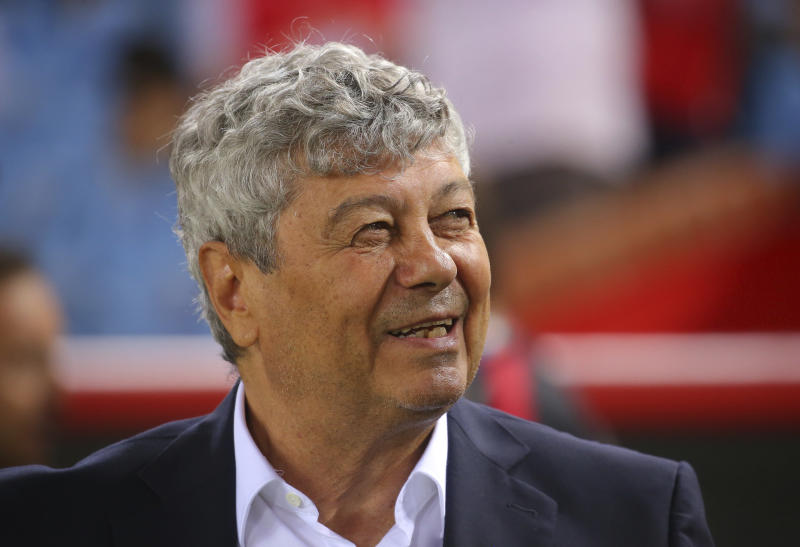 Turkey's head coach Mircea Lucescu stands prior to the UEFA Nations League soccer match between Turkey and Russia in Trabzon, Turkey, Friday, Sept. 7, 2018. (AP Photo)