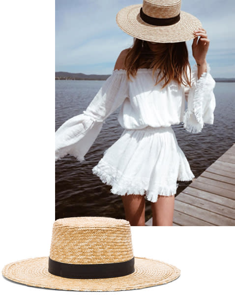 """<p><strong>Janessa Leone</strong> hat, $180, <span>revolve.com</span>. </p><p><a rel=""""nofollow"""" href=""""http://www.revolve.com/janessa-leone-klint-hat/dp/JNES-WH31/?d=Womens&page=1&lc=16&itrownum=6&itcurrpage=1&itview=01"""">SHOP</a><br></p><p><em>Instagram via </em><a rel=""""nofollow"""" href=""""https://www.instagram.com/p/BL-49VfjMG5/""""><em>@TuulaVintage</em></a></p>"""