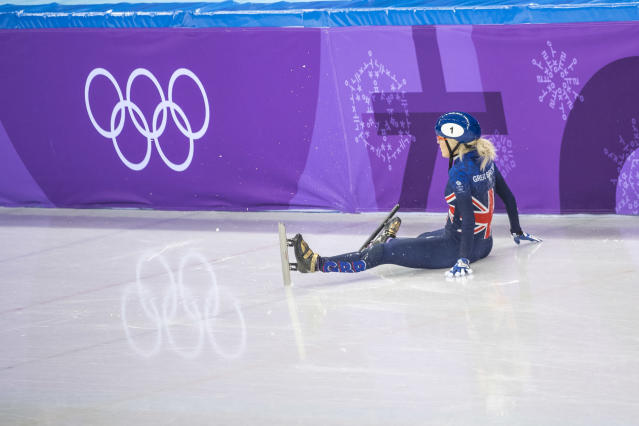 Elise Christie is racing a battle to be fit for Tuesday's 1000m qualifying at the Winter Olympics (picture Andy J Ryan/Team GB)