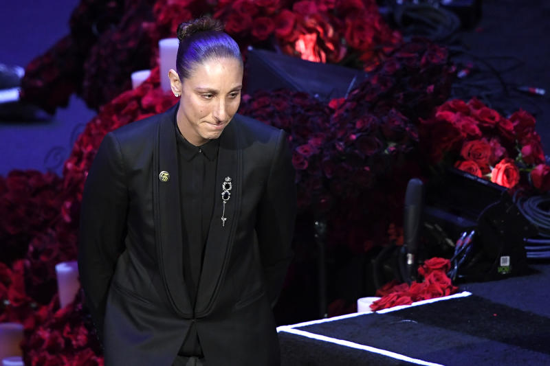 LOS ANGELES, CALIFORNIA - FEBRUARY 24: Diana Taurasi speaks during The Celebration of Life for Kobe & Gianna Bryant at Staples Center on February 24, 2020 in Los Angeles, California. (Photo by Kevork Djansezian/Getty Images)