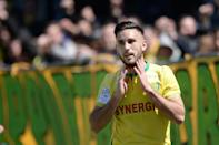 Nantes midfielder Adrien Thomasson celelebrates after scoring a goal during the French L1 match between Nantes and Nice on April 30, 2016 (AFP Photo/Jean-Sebastien Evrard)