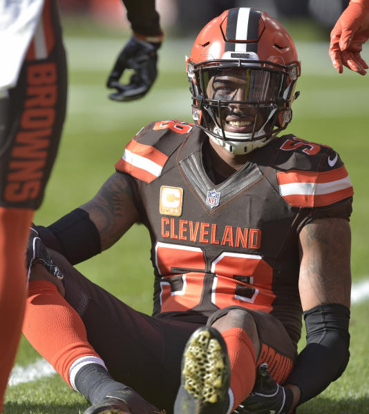 FILE - In this Sunday, Nov. 4, 2018, file photo, Cleveland Browns linebacker Christian Kirksey (58) is injured during the first half of an NFL football game against the Kansas City Chiefs, Sunday,, in Cleveland. The Browns lost two defensive starters after placing linebacker Christian Kirksey and cornerback E.J. Gaines on injured reserve. One of the teams captains, Kirksey hurt his hamstring in the second quarter of Sundays loss to the Kansas City Chiefs. Gaines was also hurt, sustaining his second concussion in three weeks. (AP Photo/David Richard, File)