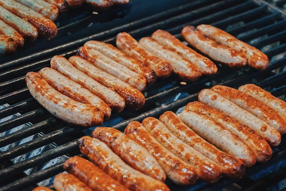 """<p>Grilled sausage is an excellent addition to any barbecue, but it can be a little bit tricky on the grill. That's why Levitt suggests you """"put them in a pot of cold water and bring to a simmer, then let them cool"""" before cooking. </p><p>""""This gets the sausages to medium doneness and sets the casing,"""" he explains. """"Then, on the grill with medium-high heat, grill the sausages until fully cooked. This method prevents splitting of casing and decreases your cook time."""" </p>"""