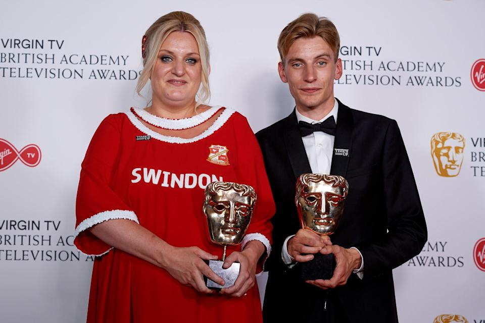 Daisy May Cooper (L) and Charlie Cooper with the award for Scripted Comedy for 'This Country', pose in the press room at the Virgin TV British Academy Television Awards at The Royal Festival Hall on May 13, 2018 in London, England. (Photo by Jeff Spicer/Getty Images)