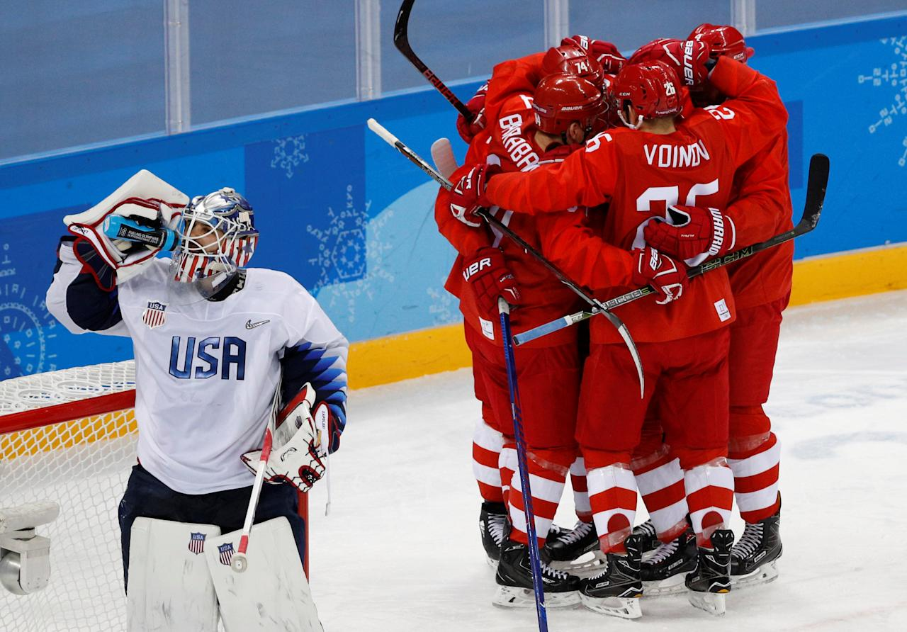 Ice Hockey - Pyeongchang 2018 Winter Olympics - Men's Preliminary Round Match - Olympic Athletes from Russia v U.S. - Gangneung Hockey Centre, Gangneung, South Korea - February 17, 2018 - Olympic Athlete from Russia Nikolai Prokhorkin celebrates a goal with team mates. REUTERS/Brian Snyder     TPX IMAGES OF THE DAY