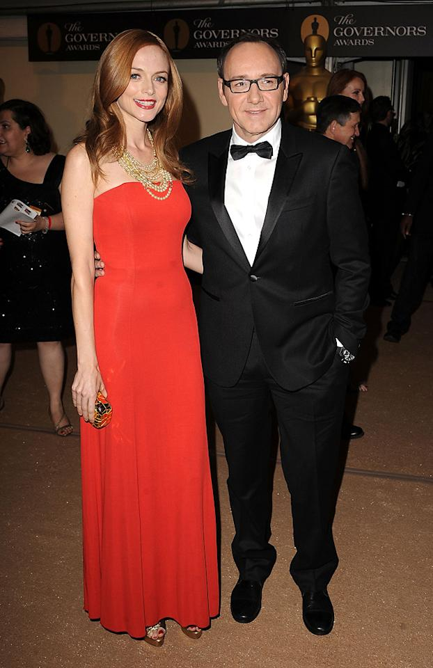 """<a href=""""http://movies.yahoo.com/movie/contributor/1800018677"""">Heather Graham</a> and <a href=""""http://movies.yahoo.com/movie/contributor/1800018626"""">Kevin Spacey</a> attend the 2nd Annual AMPAS Governors Awards in Los Angeles on November 13, 2010."""