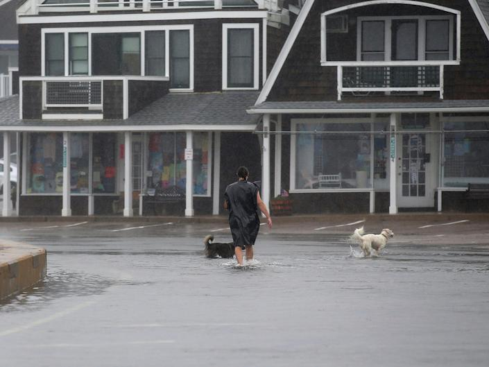 An unidentified man walks his dogs through a flooded parking lot in the Watch Hill section of Westerly, R.I., after Tropical Storm Henri made landfall, Sunday, Aug. 22, 2021.