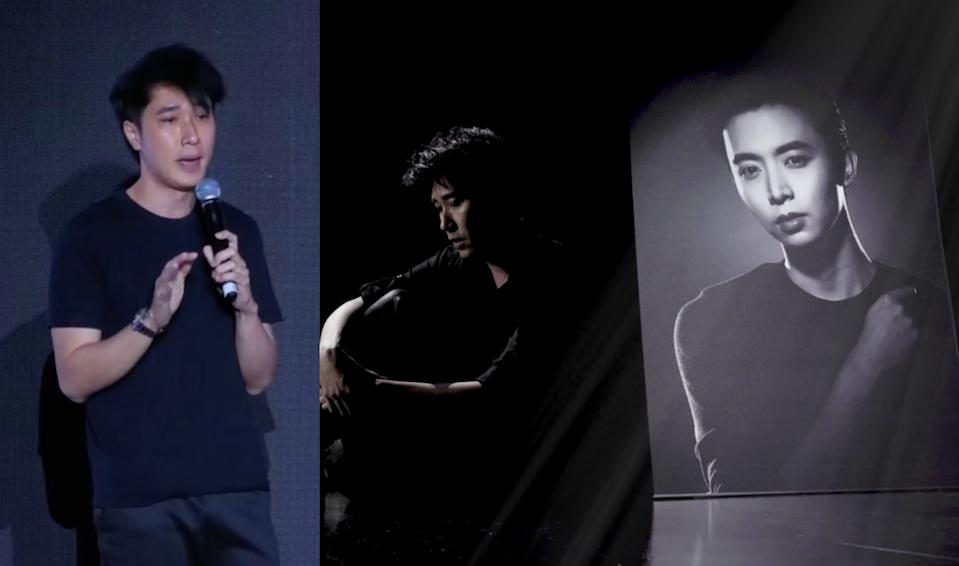 Dasmond Koh, founder of NoonTalk Media agency and manager of the late actor Aloysius Pang, wrote a song in tribute to him and shared a music video for the song, titled This World Without You, during a memorial for Pang on 5 January 2020 at the NoonTalk Media premises at Alice@Mediapolis. (Screenshots from Facebook videos)