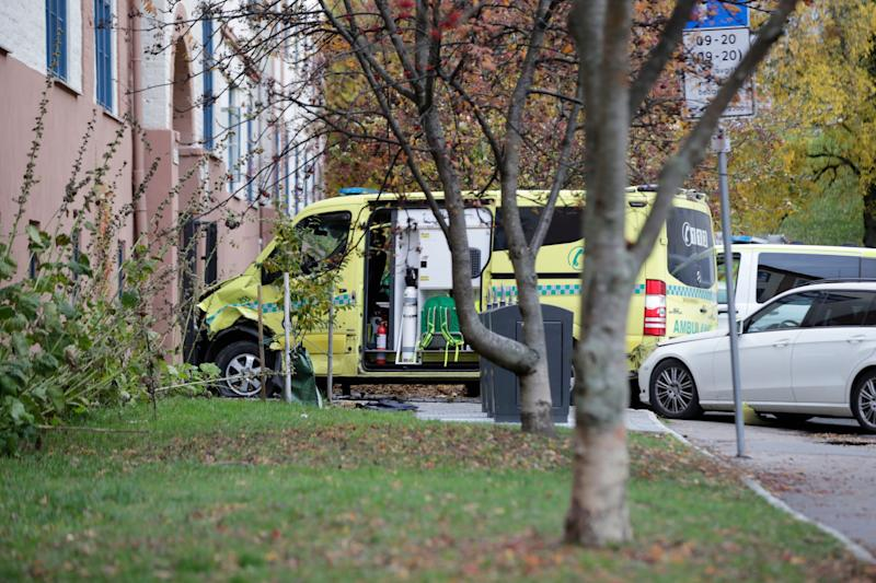 A damaged ambulance is seen parked after an incident in the center of Oslo (AP)