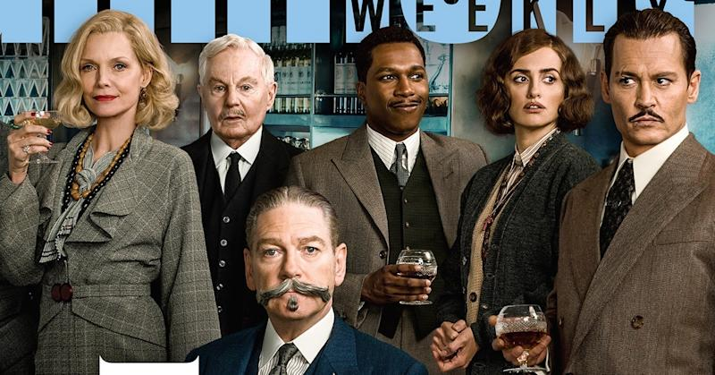 Just half the cast of 'Murder on the Orient Express.' L-R Michelle Pfeiffer, Derek Jacobi, Kenneth Branagh, Leslie Odom Jr, Penelope Cruz, Johnny Depp (credit: 20th Century Fox/Entertainment Weekly)